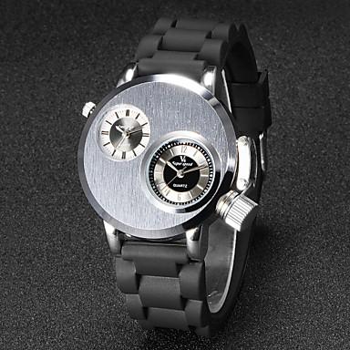 Men's Unique Creative Watch Wrist watch Quartz Japanese Quartz Dual Time Zones Rubber Band Black