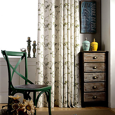 Rod Pocket Grommet Top Double Pleat Two Panels Curtain Country Modern Mediterranean , Print Stripe Bedroom Linen / Cotton Blend Material