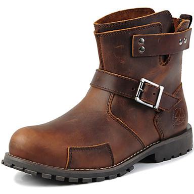 Férfi cipő Bőr Ősz / Tél Kényelmes / Cowboy / Western csizmák / Katonai csizmák Csizmák 15.24-20.32cm / 20.32-25.4cm / Bokacsizmák Barna