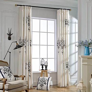 vorh nge drapiert schlafzimmer leinen baumwollmischung stickerei 4531327 2018. Black Bedroom Furniture Sets. Home Design Ideas