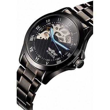 WINNER Men's Wrist Watch / Mechanical Watch Hollow Engraving Stainless Steel Band Luxury Black / Automatic self-winding