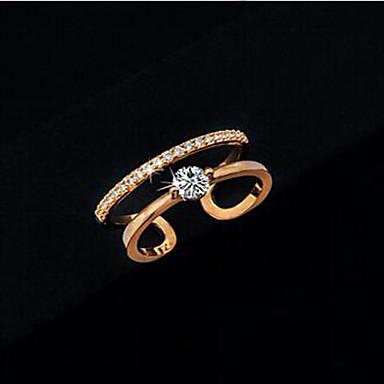 Maxi anel Cristal Zircão Zircônia Cubica Liga Estilo simples Prata Dourado Jóias Casamento Festa Diário Casual 1peça