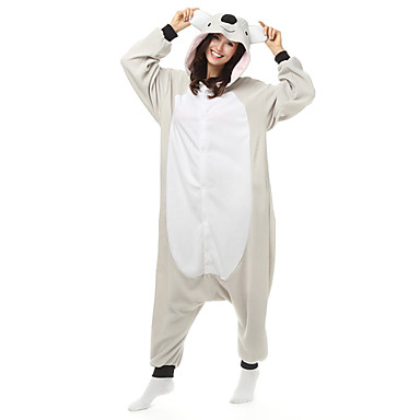 Kigurumi Pijama Koala Onesie Pijama Kostüm Polar Kumaş Sentetik Fiber Beyaz Cosplay İçin Yetişkin Hayvan Sleepwear Karikatür cadılar