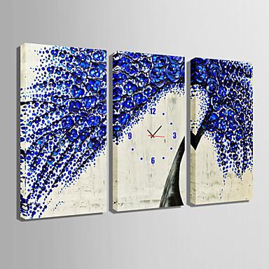 Suorakulma Moderni/nykyaikainen Seinäkello , Muuta Kanvas 30 x 60cm(12inchx24inch)x3pcs/ 40 x 80cm(16inchx32inch)x3pcs