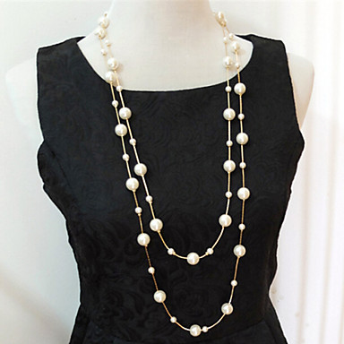 cheap Necklaces-Women's Beaded Necklace Layered Necklace Pearl Necklace Layered Multi Layer Pearl Imitation Pearl Silver Golden Necklace Jewelry For Wedding Party Daily Casual