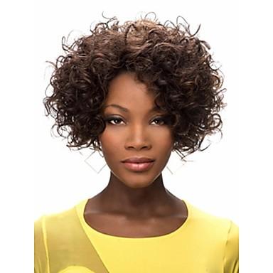 Sentetik Peruklar Bukle Afro Yoğunluk Bonesiz Kadın's Karnaval Peruk Cadılar Bayramı Peruk Şort Sentetik Saç