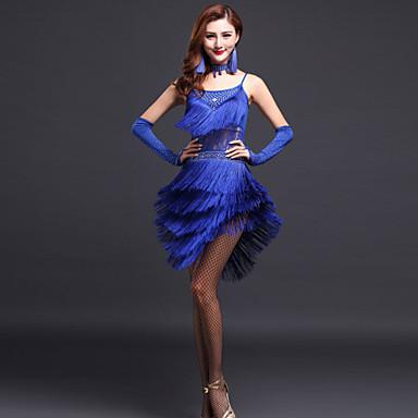 Latin Dance Dresses Women's Performance Polyester Tassel / Crystals / Rhinestones Sleeveless High Dress / Gloves / Neckwear