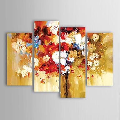 Maalattu Kukkakuvio/KasvitiedeModerni 4 paneeli Kanvas Hang-Painted öljymaalaus For Kodinsisustus