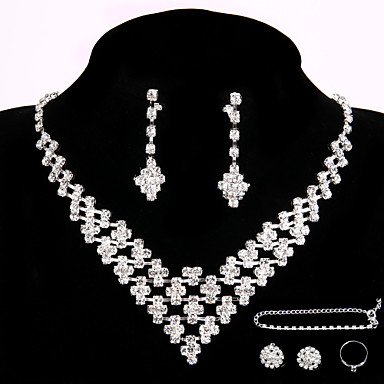 Wedding Party Crystal Pendant Necklace Jewelry Sets  Ring Gift with 2 Pairs of Rhinestone Earrings for Wedding Dress