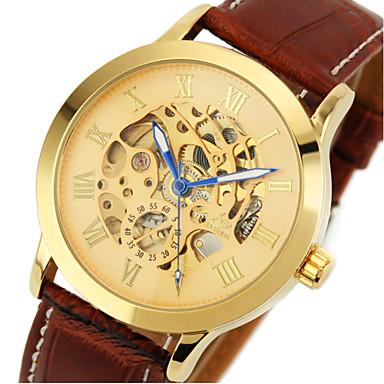 Мужской Наручные часы С автоподзаводом С гравировкой Кожа Группа Коричневый бренд- SHENHUA