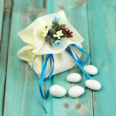 Creative Satin Favor Holder with Ribbons Flower Favor Bags - 6