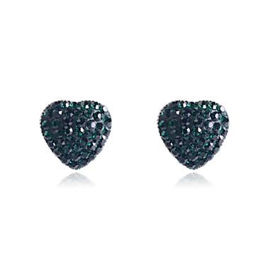 Mulheres Cristal Brincos Curtos - Cristal, Imitações de Diamante Coração, Amor Luxo, Fashion Verde / Rosa claro Para Festa / Diário / Casual