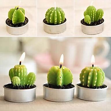 6 x kaktusz növényi fazék készlet gyertya gyertya party esküvői díszek (véletlenszerű szín)