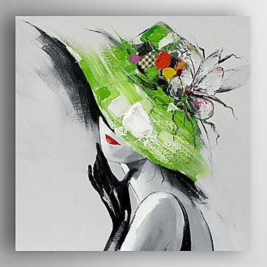 Hand-Painted People Square, Modern Canvas Oil Painting Home Decoration One Panel
