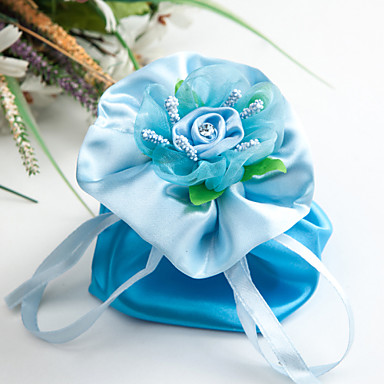 Creative Satin Favor Holder With Flowers Ribbons Rhinestone Favor Bags-6