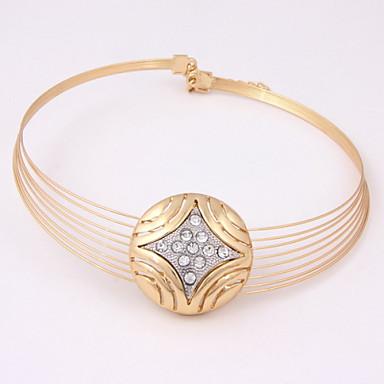 Feminino Conjunto de Jóias Moda Jóias de Luxo bijuterias Chapeado Dourado Imitações de Diamante Brincos Colar Pulseira Anel Para Festa