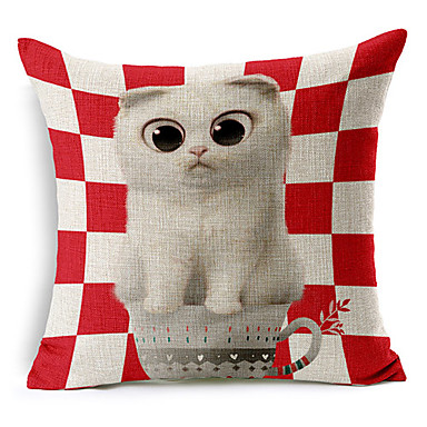 Country Animal Pattern Cotton/Linen Decorative Pillow Cover