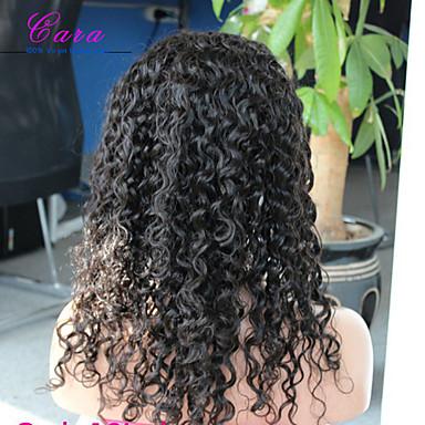Aidot hiukset Lace Peruukki Kihara Lace Front Liimaton puoliverkko 100% käsinsidottu Afro-amerikkalainen peruukki Luonnollinen hiusviiva