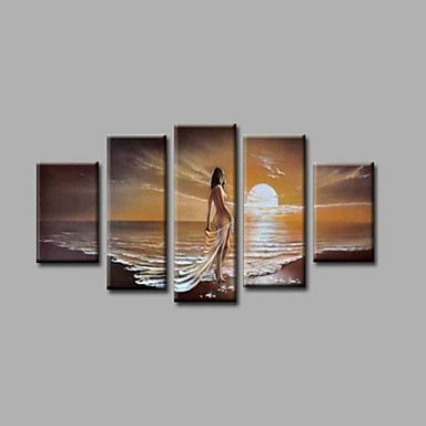 Ready to Hang Stretched  Framed Hand-Painted Oil Painting Canvas Wall Art Sunrise   Girls Beach Five Panels