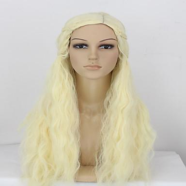 Sentetik Peruklar Dalgalı Kadın's Bonesiz Uzun Sentetik Saç