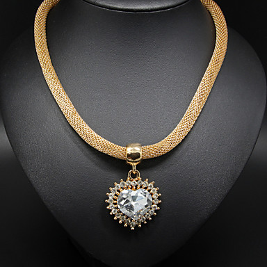 Women's Heart Shape Love Statement Necklace Crystal Alloy Statement Necklace