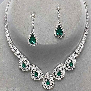 cheap Jewelry Sets-Women's Crystal Jewelry Set - Cubic Zirconia, Imitation Diamond Drop Ladies, Luxury, Party, Elegant, Bridal Include Drop Earrings Pendant Necklace Emerald / Sapphire / Light Olive For Wedding Party