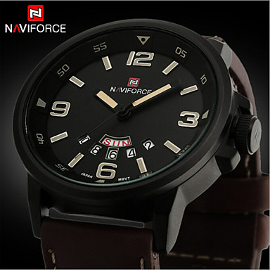 Men's Wrist watch Quartz Calendar / date / day Water Resistant / Water Proof Leather Band Charm Black Silver Brown