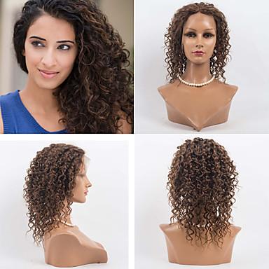 Emberi haj Csipke eleje Paróka Hullámos 120% Sűrűség 100% kézi csomózású Afro-amerikai paróka Természetes hajszálvonal Ombre haj Közepes