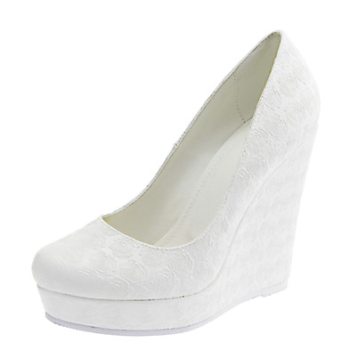 Women's Shoes Customized Materials Spring Summer Wedge Heel for Wedding Dress White