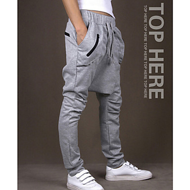 Men's Drawstring Running Pants - Dark Grey, Light Grey, Burgundy Sports Solid Colored Pants / Trousers Fitness, Gym, Workout Activewear Breathable, Limits Bacteria, Sweat-wicking Stretchy
