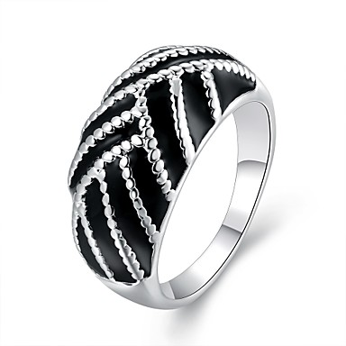 Damen Statement-Ring Schwarz Zirkon versilbert Modisch Hochzeit Party Alltag Normal Modeschmuck