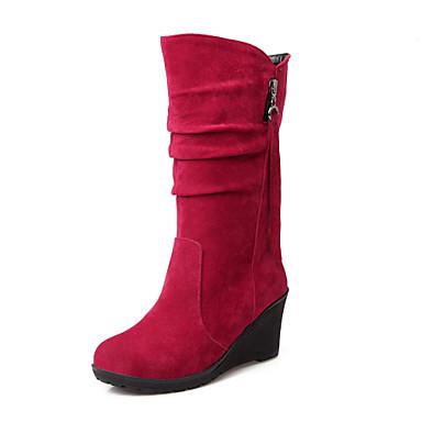 Mulheres Sapatos Flanelado Outono / Inverno Conforto / Botas de Neve Botas Caminhada Salto Plataforma Ponta Redonda Ziper / Mocassim