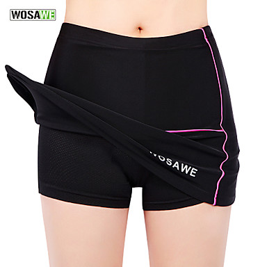 WOSAWE Women's Cycling Skirt Bike Skirt / Padded Shorts / Chamois / Bottoms 3D Pad, Anatomic Design, Breathable Solid Colored Elastane,