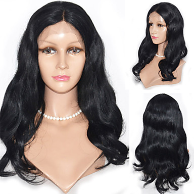 Human Hair Lace Front Wig Body Wave 120% Density 100% Hand Tied African American Wig Natural Hairline Ombre Hair Medium Women's Human