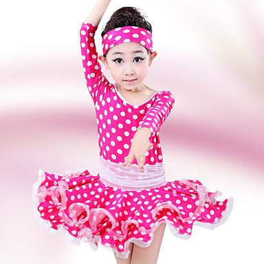 라틴 댄스 드레스 아동용 성능 면 / 스판덱스 케스케이딩 주름 2 개 반소매 높음 드레스 / 헤어 밴드 110:53cm,120:56cm,130:59cm,140:62cm,150:65cm