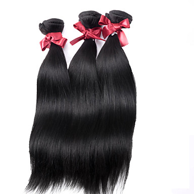 EVET Virgin Hair Bundle Deals Straight Hair Weaves Malaysian Remy Human Hair Straight Extensions 3pcs/lot Natural Black