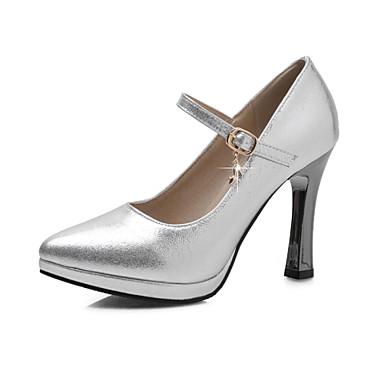Sko-PU-Tykk hæl-Hæler / Spiss tå-høye hæler-Kontor og arbeid / Fritid-Svart / Blå / Sølv / Gull