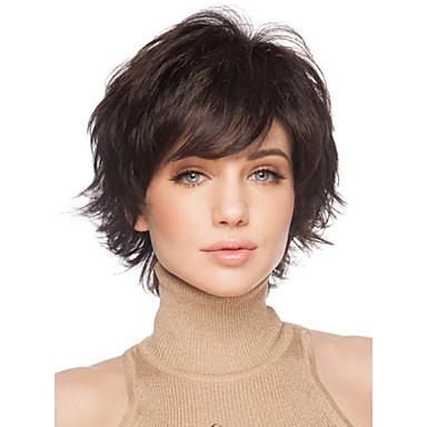 人工毛ウィッグ カール バング付き 合成 サイドパート ブラウン かつら 女性用 ショート キャップレス ブラック