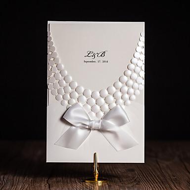 Katlanmış Düğün Davetiyeleri Davet Kartları Modern Stil / Çiçek Tarzı Sanat Kağıdı Kurdeleler / Çiçekli