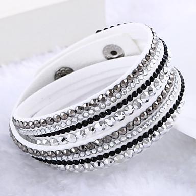 Women's Crystal Layered Wrap Bracelet - Leather, Rhinestone, Imitation Diamond Luxury, Unique Design, Fashion Bracelet Beige / Purple / Light Green For Wedding / Party / Daily
