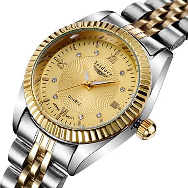 Masculino Relógio de Pulso Quartz Impermeável Aço Inoxidável Banda Prata marca-