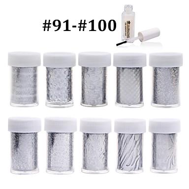 10pcs nail foils+1pcs nail foil glue - 4cmX100cm each piece - Más - Virág - Ujj / Toe - 3D-s körömmatricák