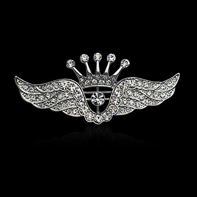 Men's Women's Luxury Elegant Fashion Gold Plated Imitation Diamond Alloy Crown Wings / Feather Silver Jewelry For Wedding Party Casual
