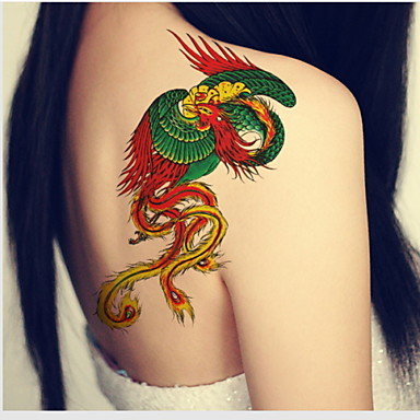 Color Phoenix Waterproof Flower Arm Temporary Tattoos Stickers Non Toxic Glitter