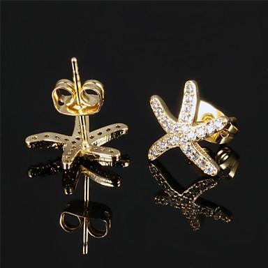 Beszúrós fülbevalók Titanium Acél Arannyal bevont Star Shape Ezüst Aranyozott Ékszerek Mert Esküvő Parti Napi Hétköznapi Sport 1set