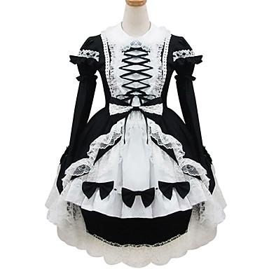 Gotik Lolita Klasik/Geleneksel Lolita Prenses Kadın's Hizmetçi Elbiseleri Cosplay Siyah Uzun Kollu