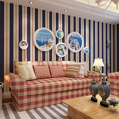 levne Tapety-S proužky Home dekorace Moderní Wall Krycí, Netkaný papír Materiál tapeta, pokoj tapeta