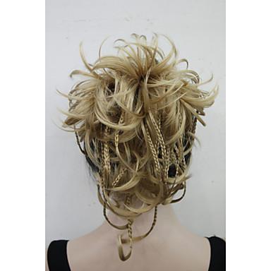 Com Presilha Rabos-de-Cavalo Cabelo Sintético Pedaço de cabelo Alongamento Ondulado Natural