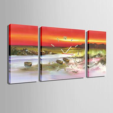 Dörtgen Modern/Çağdaş Duvar Saati , Diğerleri Kanvas 30 x 60cm(20inchx20inch)x2pcs+ 60 x 60cm(24inchx24inch)x1pcs