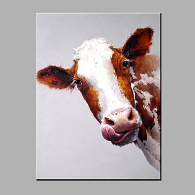 Kézzel festett Állat Modern Egy elem Vászon Hang festett olajfestmény For lakberendezési